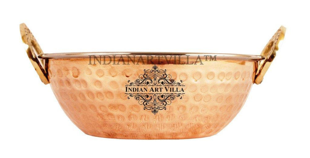 High Quality Steel Copper Serving Kadhai Kadai Indian Art Villa 16 Oz