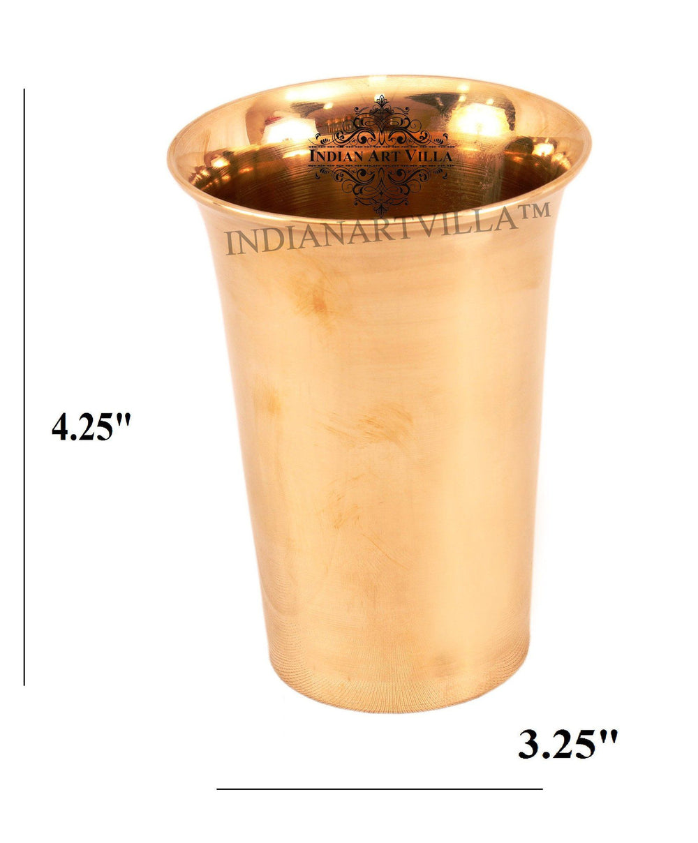 IndianArtVilla Ayurveda Beneficial Bronze Curved Glass Bronze Tumblers Indian Art Villa Small