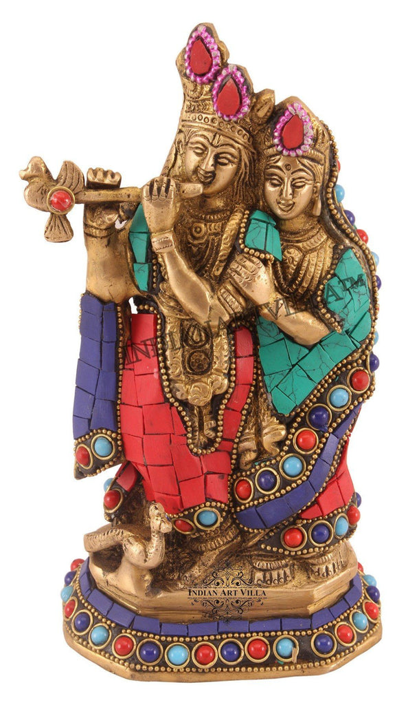 IndianArtVilla Brass Stone Work Radha Krishna Idol Figurines Indian Art Villa