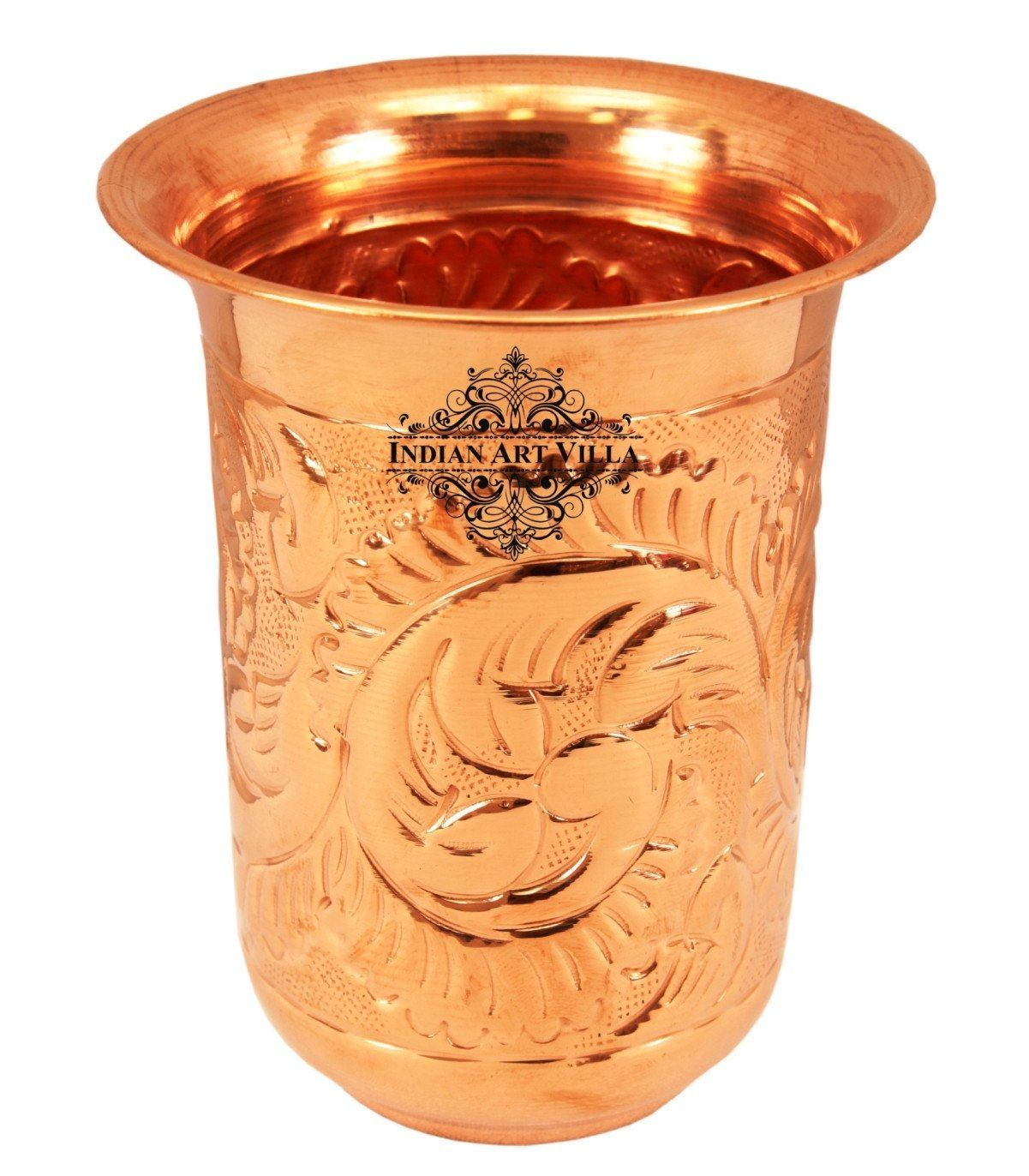 IndianArtVilla Copper Handmade Designer Glass Tumbler 11 Oz