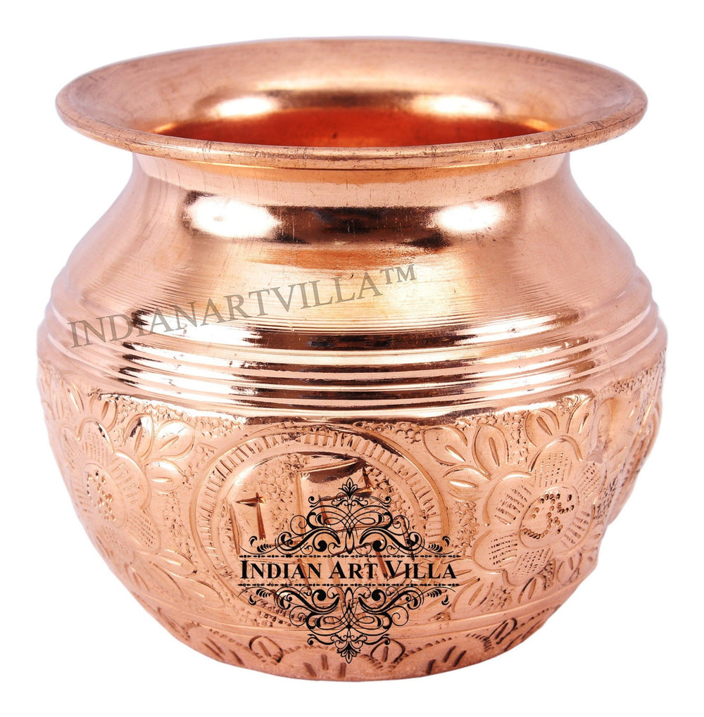 IndianArtVilla Copper Lining Swastik Design Lota Kalash 10 Oz Copper Lota Indian Art Villa