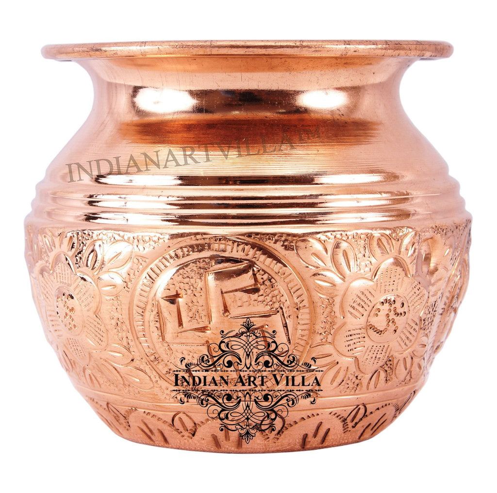 IndianArtVilla Copper Lining Swastik Design Lota Kalash 10 Oz