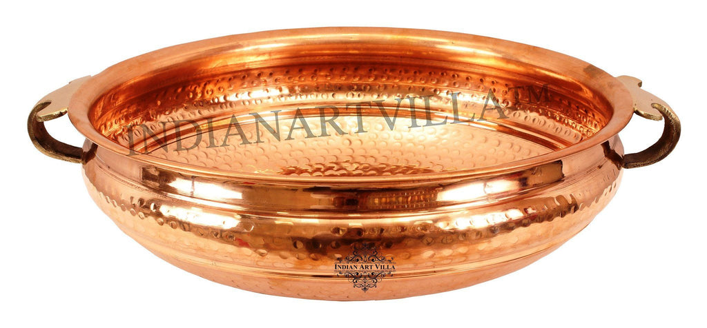 IndianArtVilla Copper Urli Water Pot Container Home Accent Indian Art Villa 14""