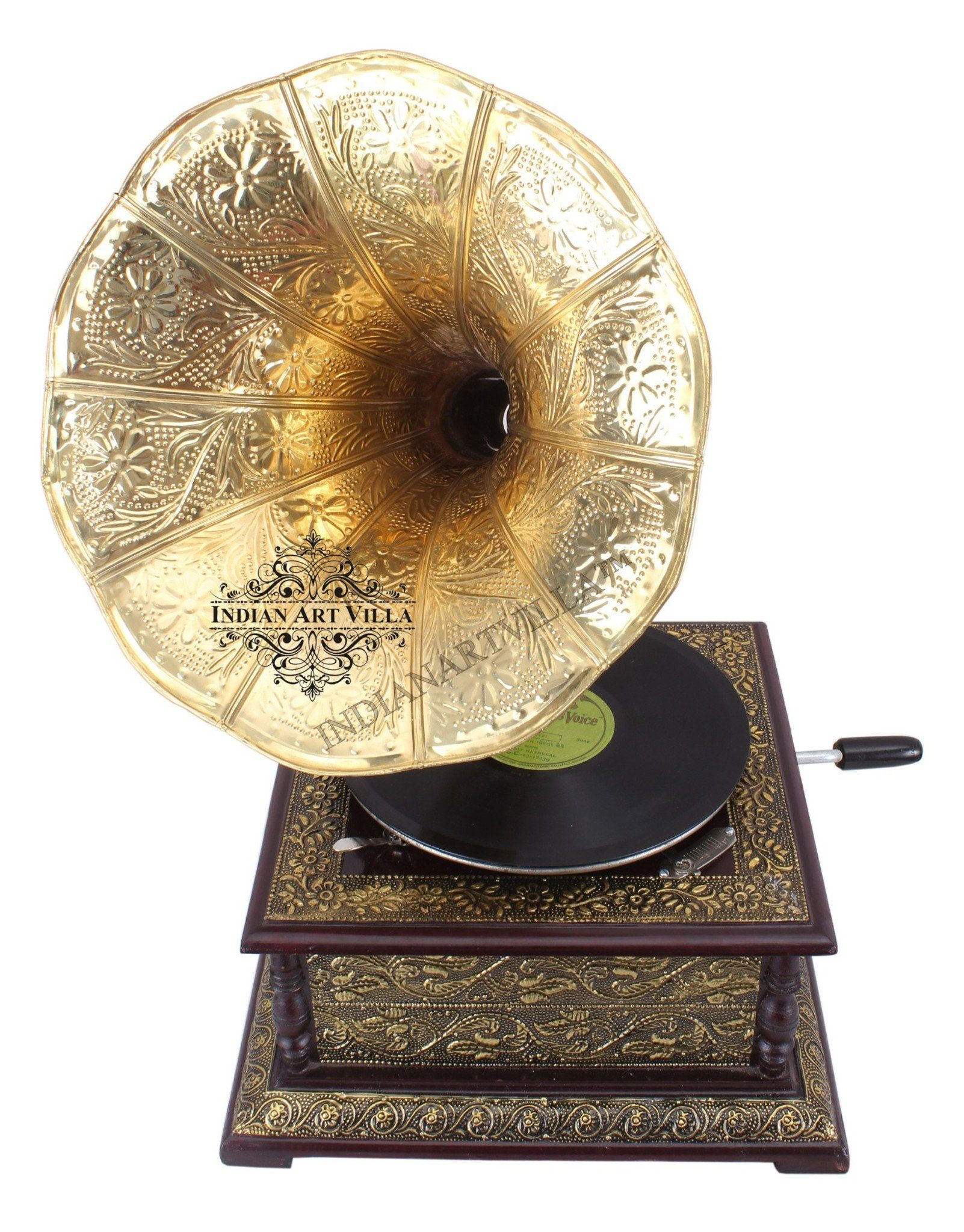 IndianArtVilla Engraved Leaf Design Wooden Base Gramophone