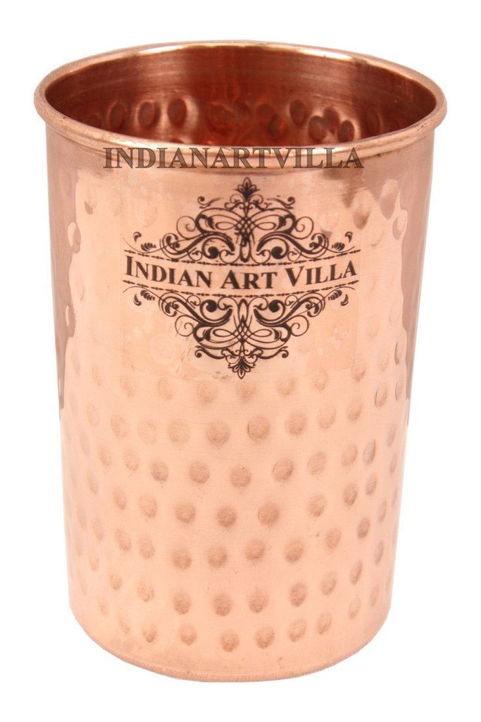 IndianArtVilla Flat Hammered Copper Glass Tumbler Cup, 350 ML