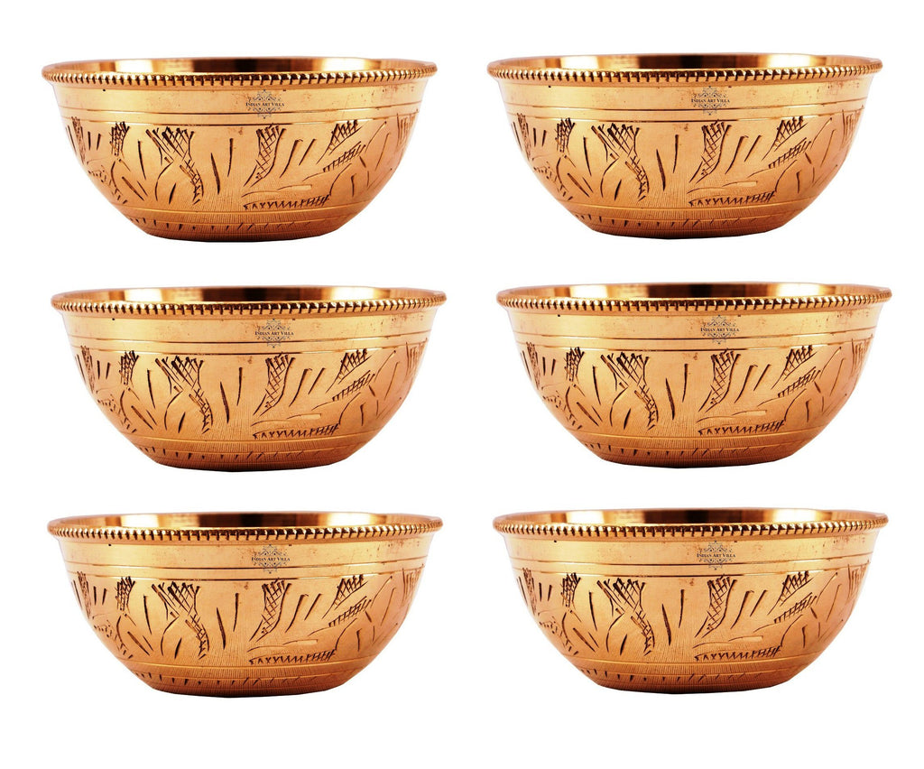 IndianArtVilla Handmade Designer Round Bottom Bowl 100 ML Brass Bowls Indian Art Villa 6 Pieces