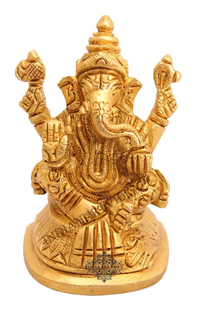 IndianArtVilla Handmade Sculpted Brass Hindu God Ganesh Ji