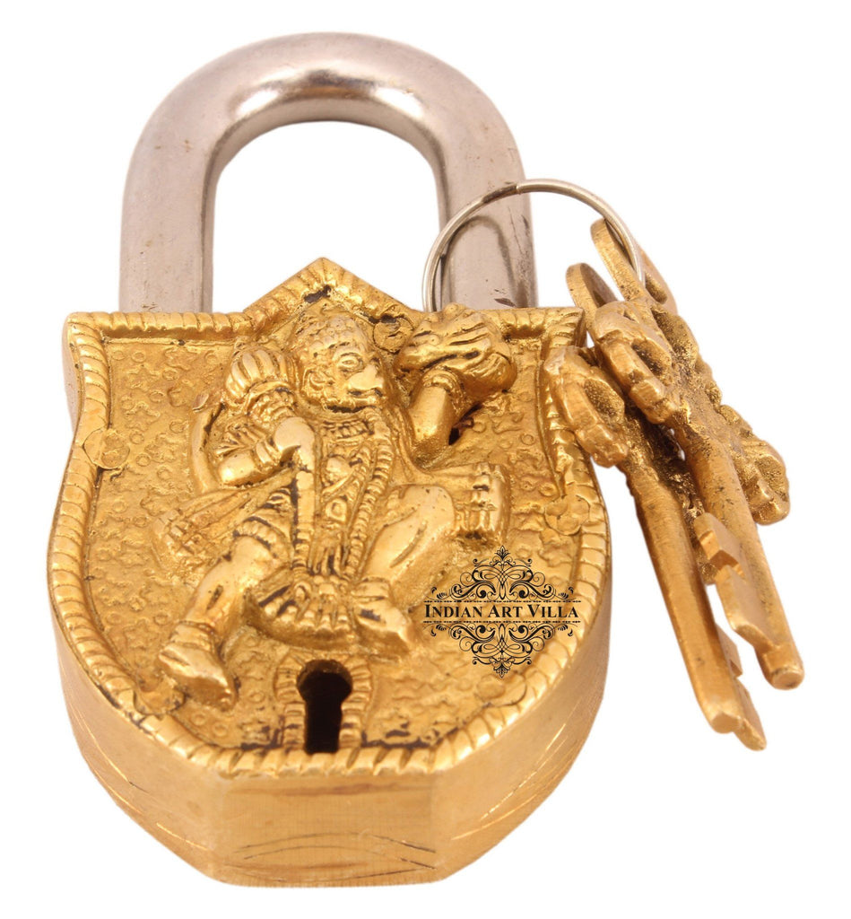 IndianArtVilla Handmade Vintage Style Hanuman Ji Brass Lock Designer Locks Indian Art Villa