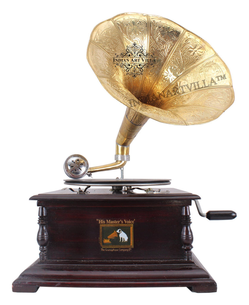 IndianArtVilla Wooden Base Gramophone with Designer Brass Horn