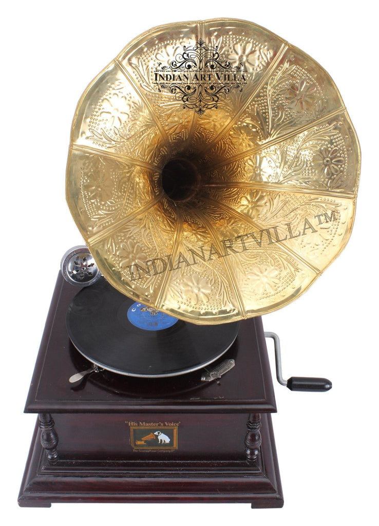IndianArtVilla Wooden Base Gramophone with Designer Brass Horn Home Accent Indian Art Villa