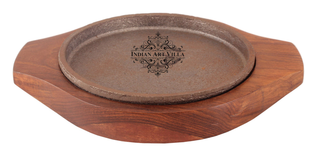 Iron Sizzler with Wooden Base Round Sizzler