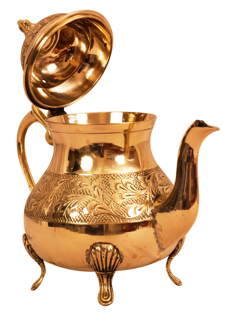 Leaf Design Brass Mughlai Tea Pot, Serveware Tableware, 750 ML Brass Tea Pots BR-1