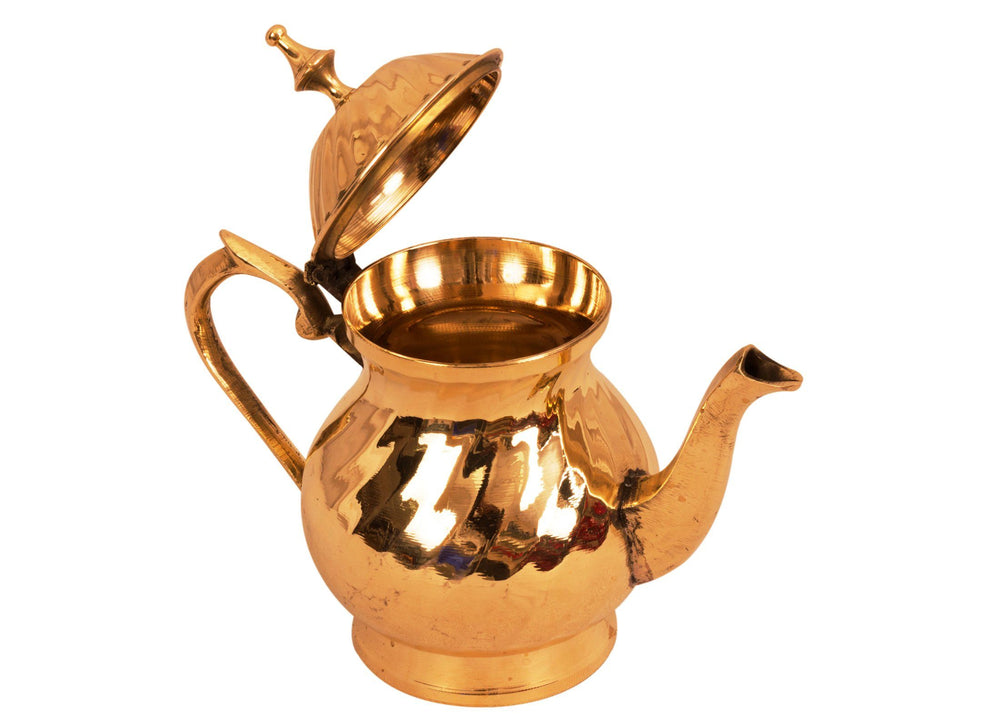 Lining Design Brass Mughlai Tea Pot, Serveware Tableware, 400 ML Brass Tea Pots BR-1