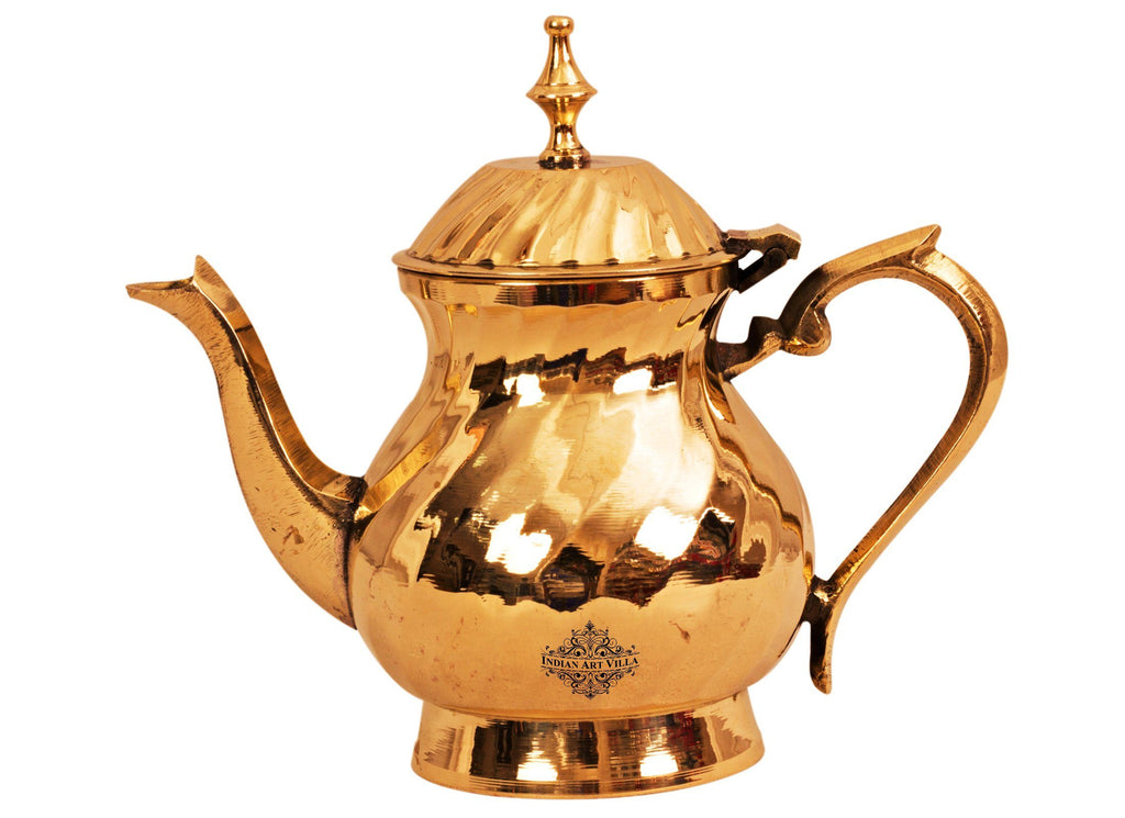 Lining Design Brass Mughlai Tea Pot, Serveware Tableware, 400 ML