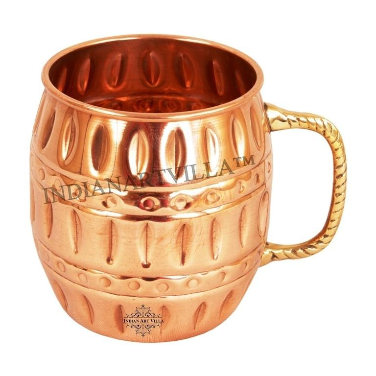 Moscow Mule Pure Copper Round Hammered Mug 18Oz