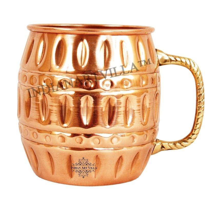 Moscow Mule Pure Copper Round Hammered Mug 18Oz Beer Mugs Indian Art Villa
