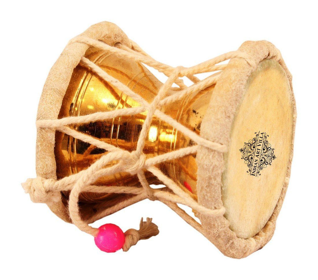 Original Brass Damaru Pellet Drum an Instrument of Lord Shiva Home Accent Indian Art Villa