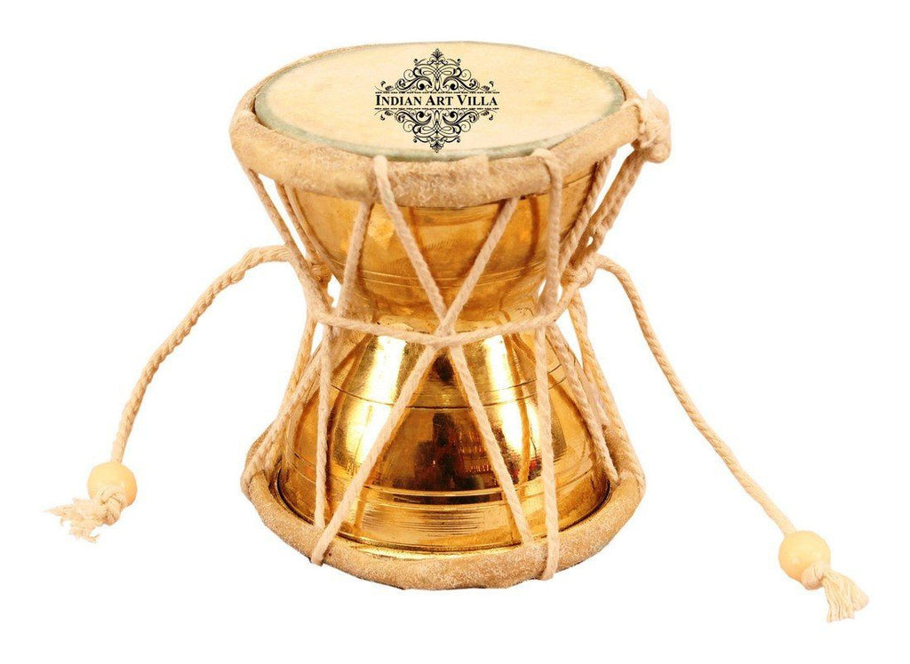 Original Brass Damaru Pellet Drum an Instrument of Lord Shiva
