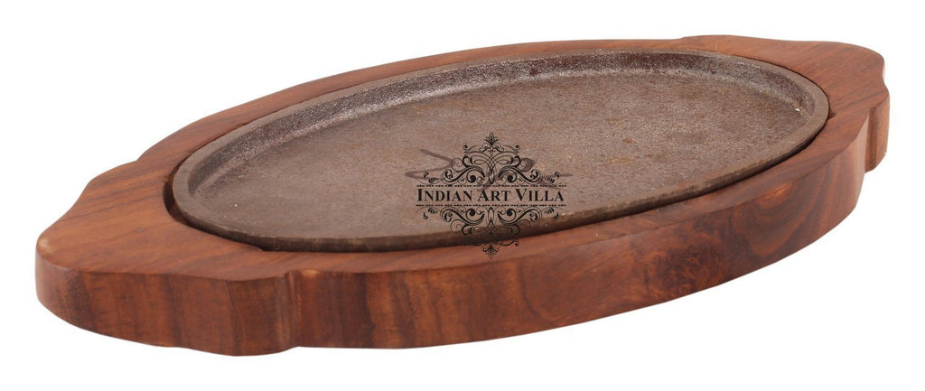 Oval Iron Sizzler with Wooden Base|Sizzle/Grill Rice Vegetables Table Tandoor Indian Art Villa