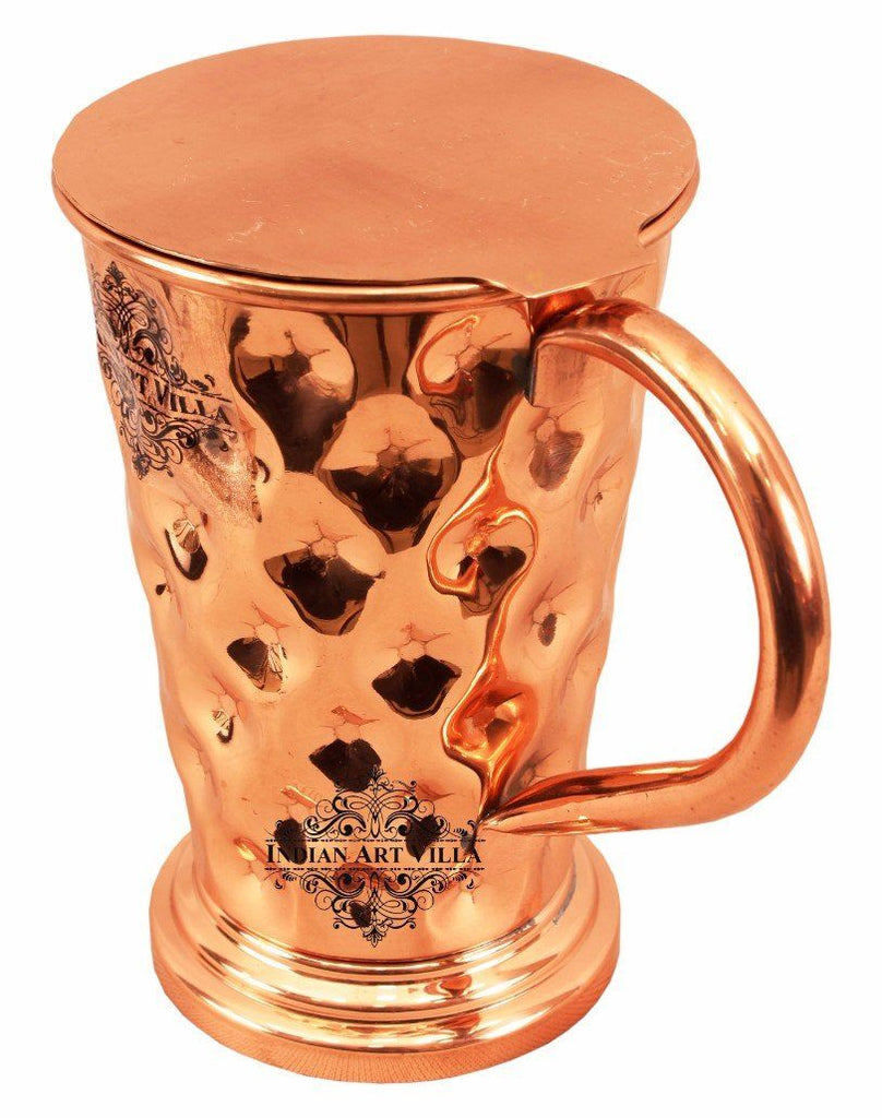 Pure Copper Big diamond Mug Moscow Mule Cup 15 Oz with Coaster Coaster Beer Mugs Indian Art Villa