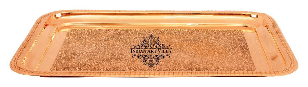 Pure Copper Designer Embossed Rectangular Serving Tray Tray Indian Art Villa