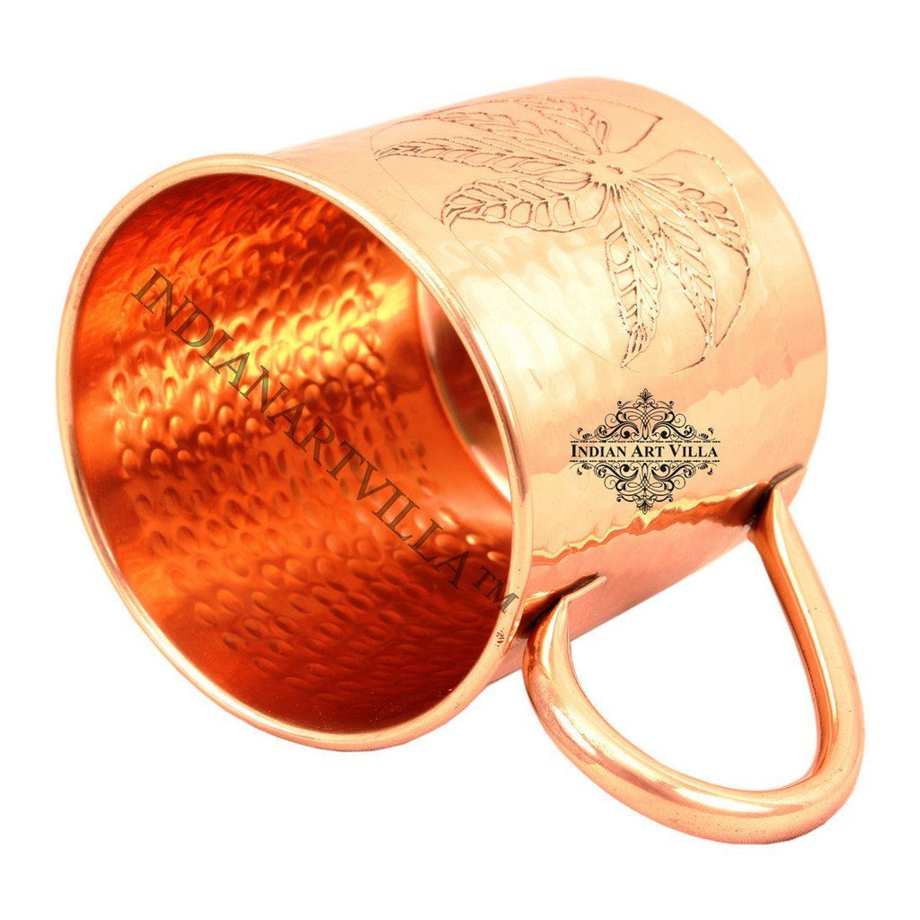Pure Copper Designer Small Hammered Moscow Mule Mug 16 Oz Beer Mugs Indian Art Villa