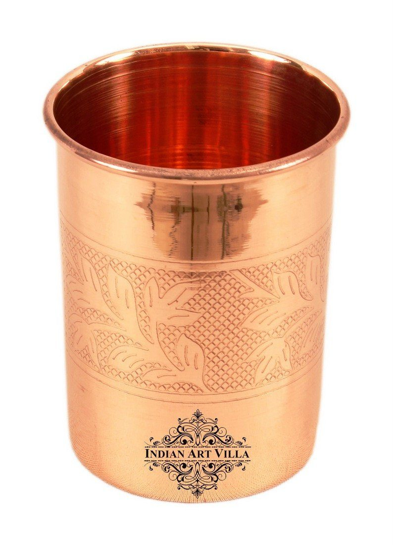 Pure Copper Embossed Glass Tumbler 10 Oz