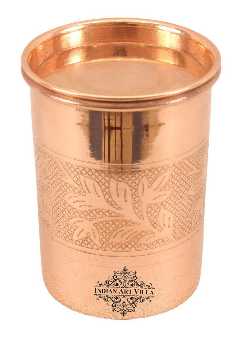 Pure Copper Embossed Glass Tumbler with Lid 10 Oz