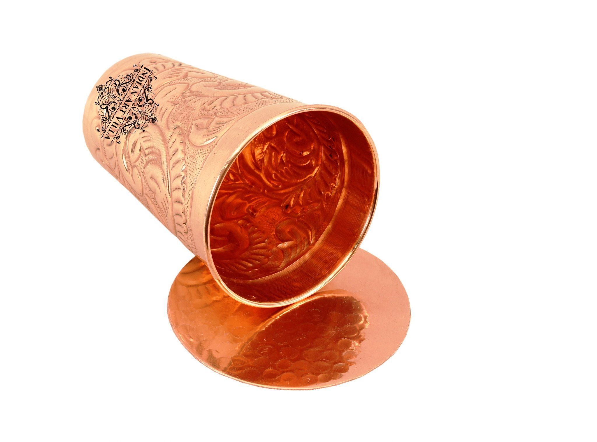 Pure Copper Engraved Flower Design Glass with Coaster 11 Oz