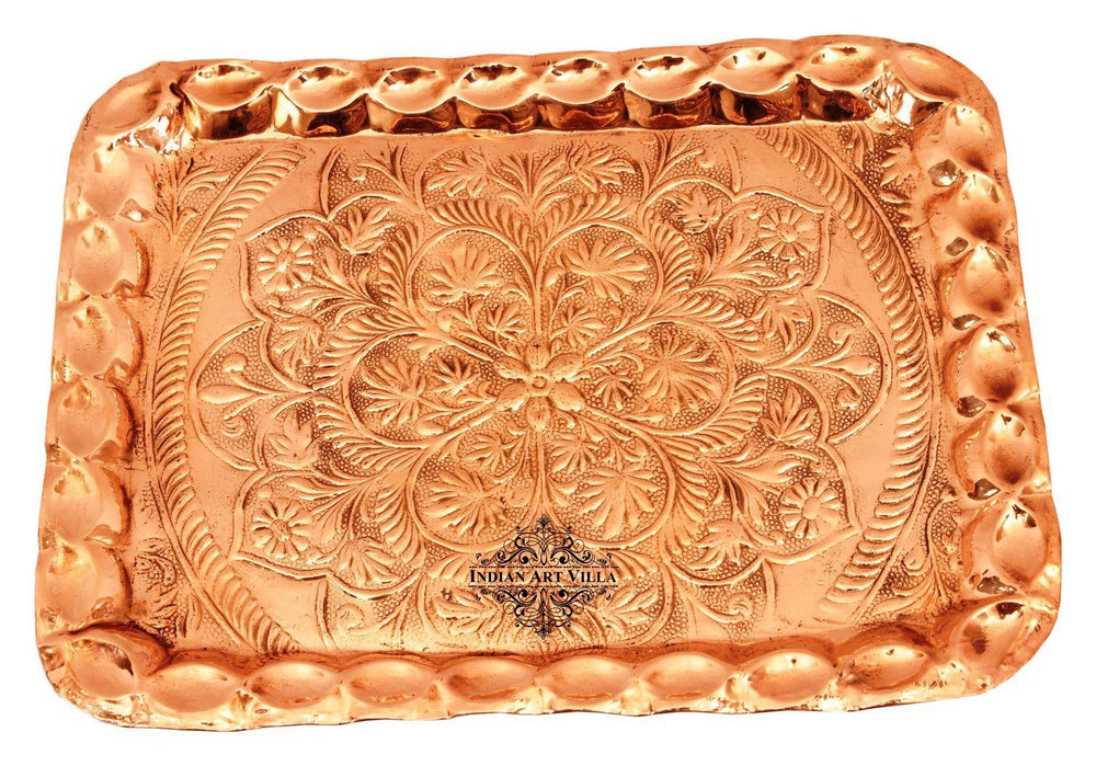 Pure Copper Engraved Flower Design Tray Tray Indian Art Villa