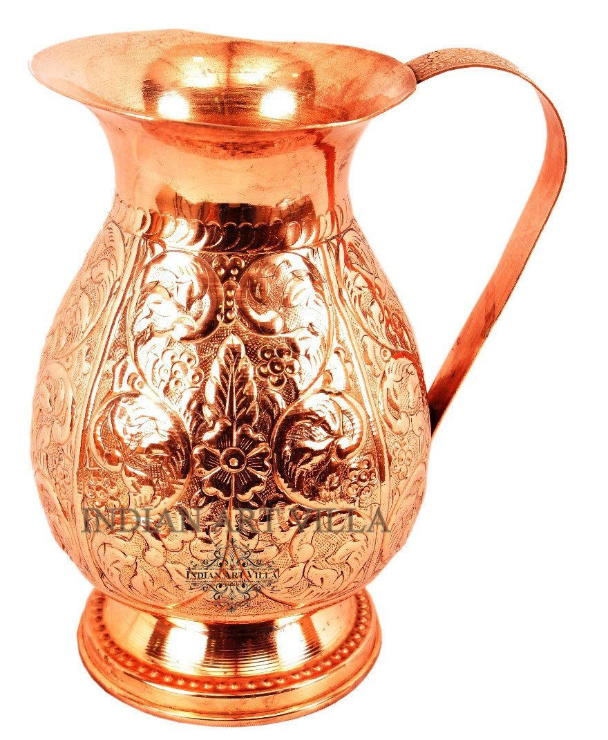 Pure Copper Flower Design Jug Pitcher 81 Oz