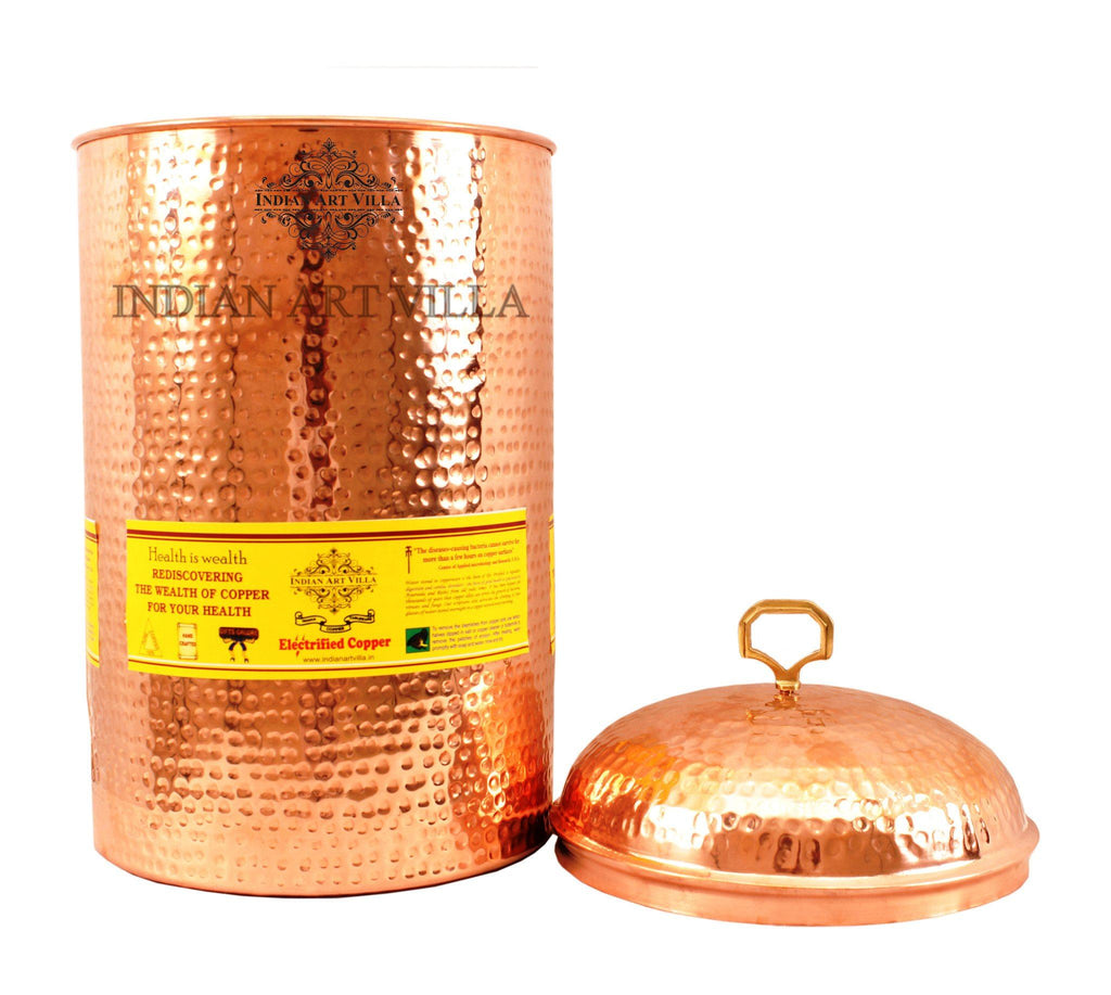 Pure Copper Hammered 405 Oz Storage Pot Containers Indian Art Villa