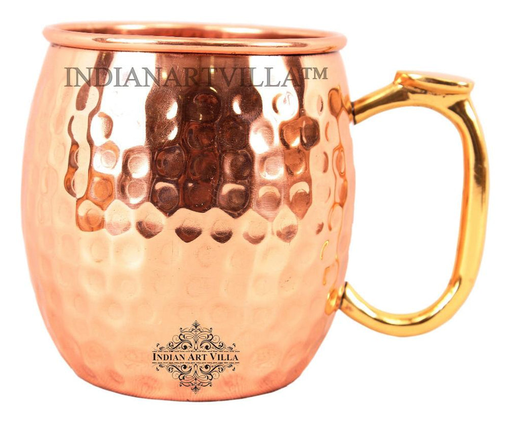 Pure Copper Hammered Beer Mug with Brass Thumb Design Handle Beer Mugs Indian Art Villa