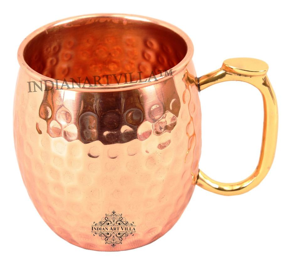 Pure Copper Hammered Beer Mug with Brass Thumb Design Handle