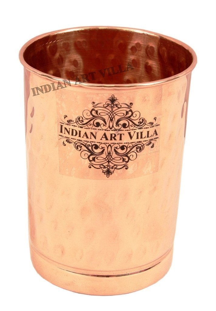 Pure Copper Hammered Glass - 10 Oz