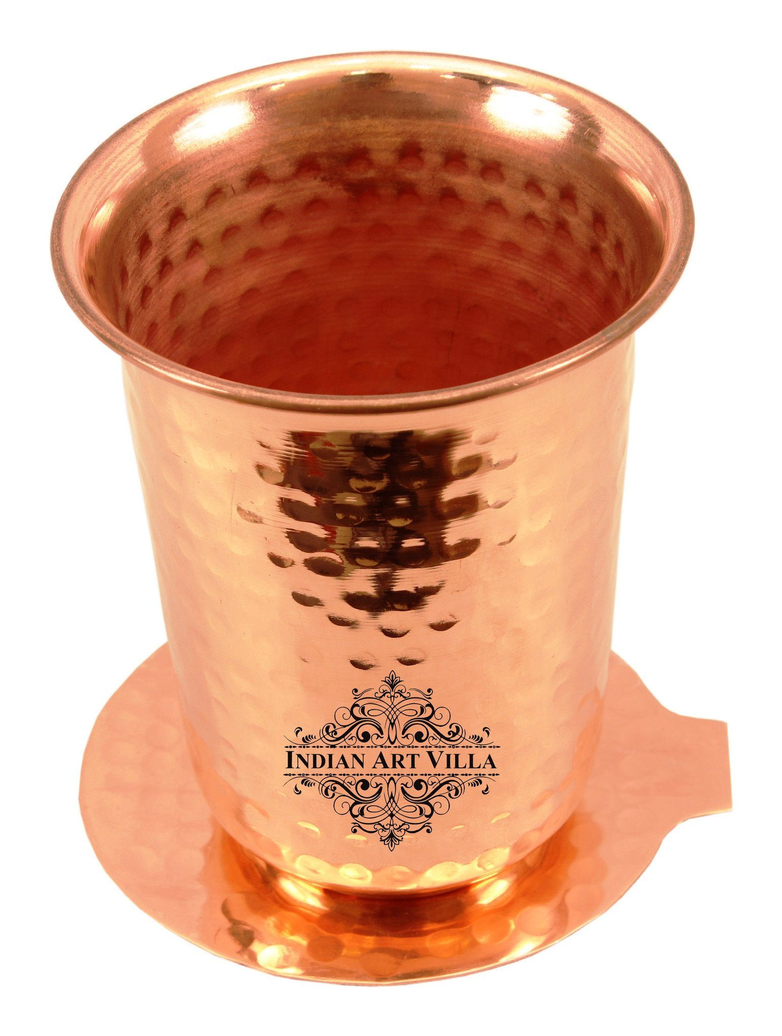 Pure Copper Hammered Glass Tumbler with Coaster 13 Oz