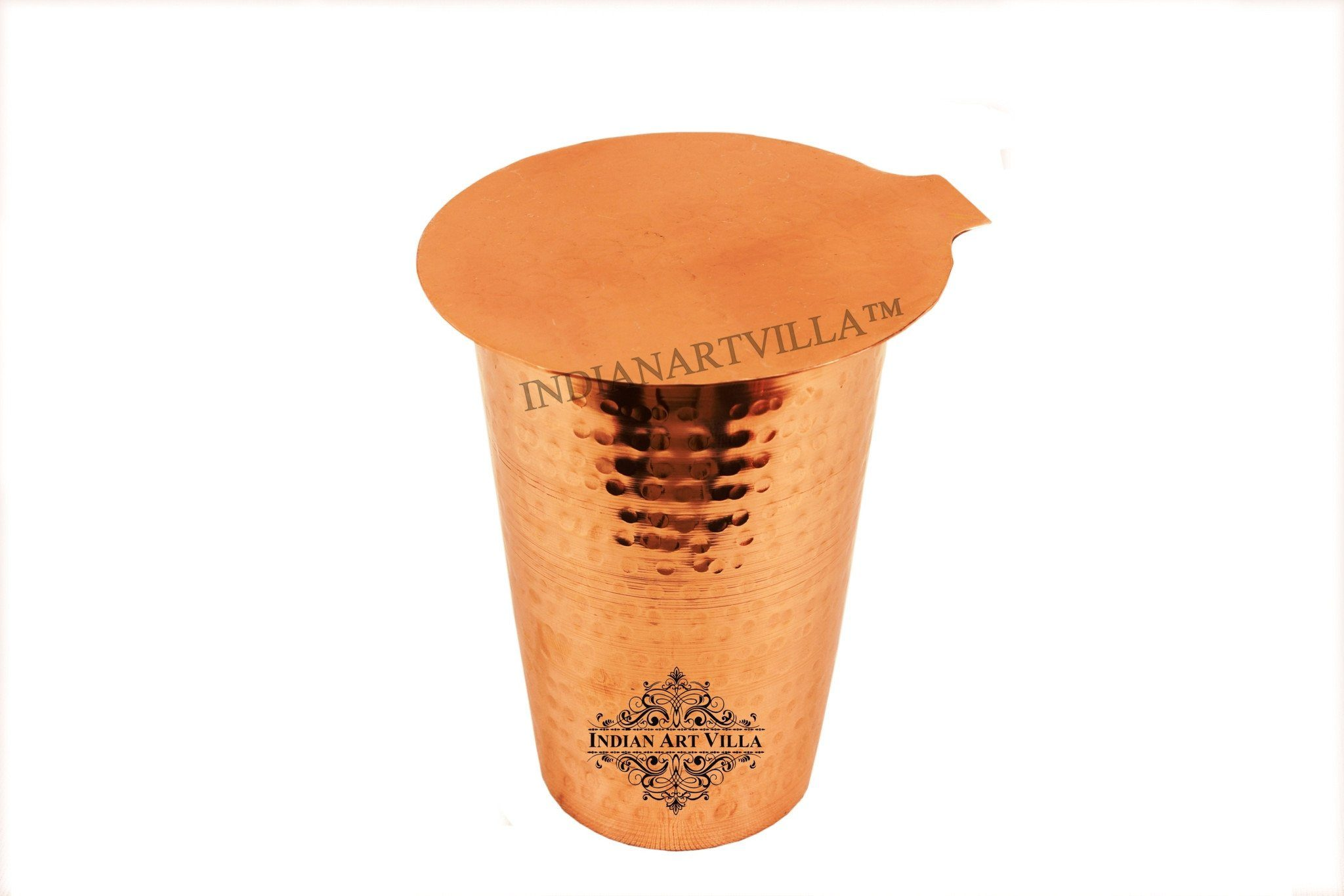 Pure Copper Hammered Glass with Coaster | 10 Oz