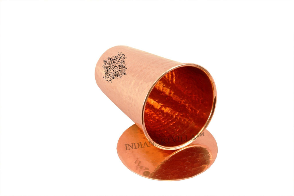 Pure Copper Hammered Glass with Coaster | 10 Oz Coaster Tumblers Indian Art Villa