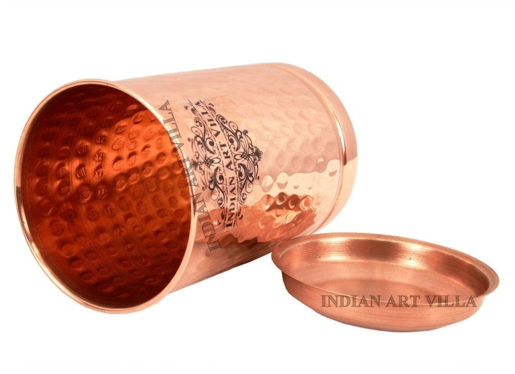 Pure Copper Hammered Glass with Lid 10 Oz Copper Tumblers Indian Art Villa