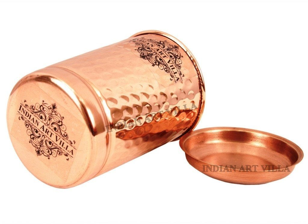 Pure Copper Hammered Glass with Lid 10 Oz