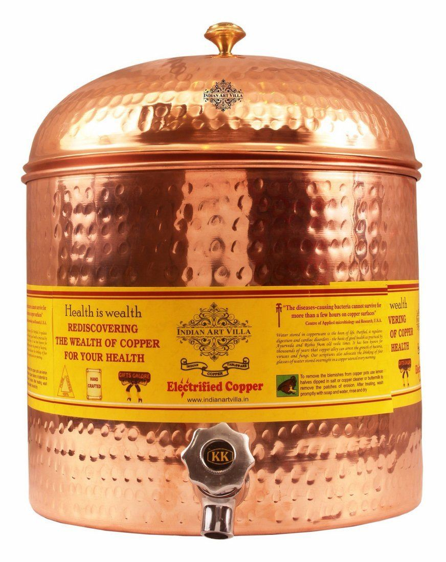 Pure Copper Hammered Joint Free Leak Proof Water Pot Dispenser 13 Oz