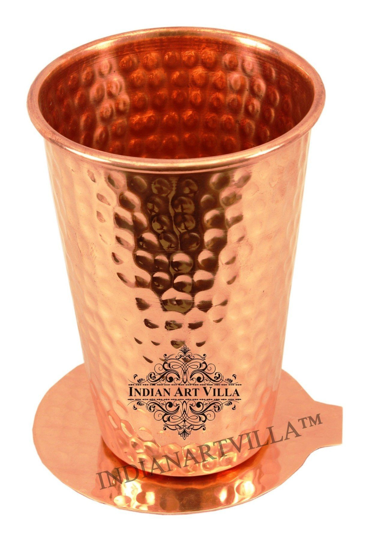 Pure Copper Hammered Lassi Glass Tumbler with Coaster | 11 Oz
