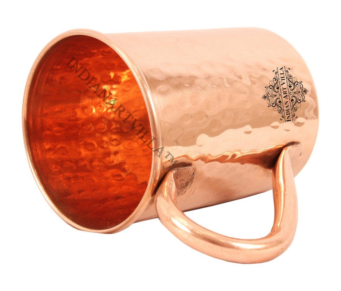 Pure Copper Hammered Moscow Mule Beer Mug Cup 14 Oz