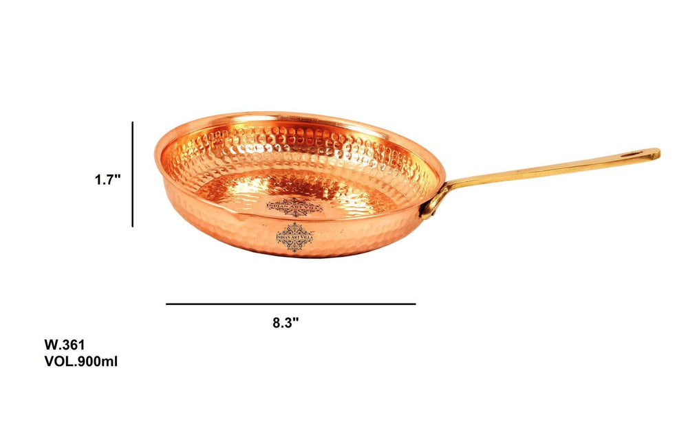 Pure Copper Hammered Serving Pan 30 Oz Serveware Home Hotel Restaurant Fry Pan Indian Art Villa