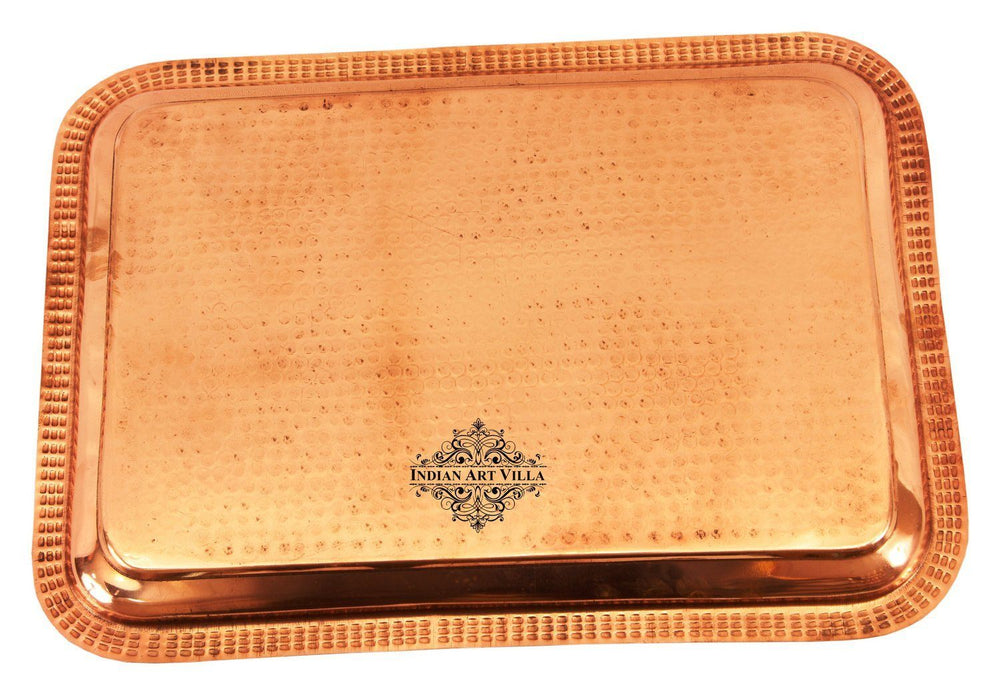 Pure Copper Hammered Serving Tray Tray Indian Art Villa