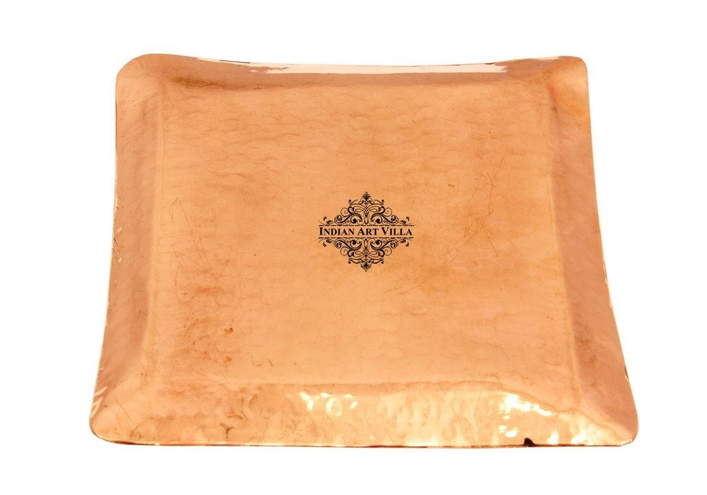 Pure Copper Hammered Small Square Tray Tray Indian Art Villa