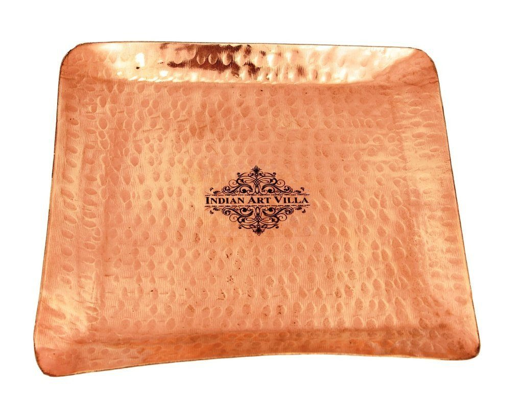 Pure Copper Hammered Small Square Tray