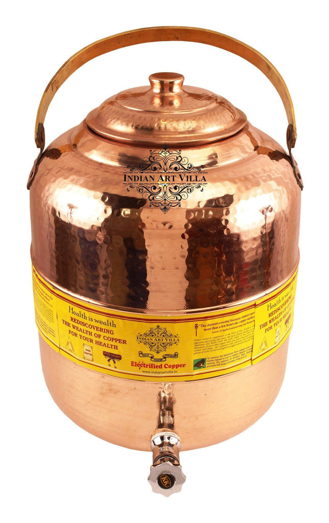 Pure Copper Hammered Water Pot with Handle and Tap - 541 Oz and 236 Oz Water Pots Indian Art Villa