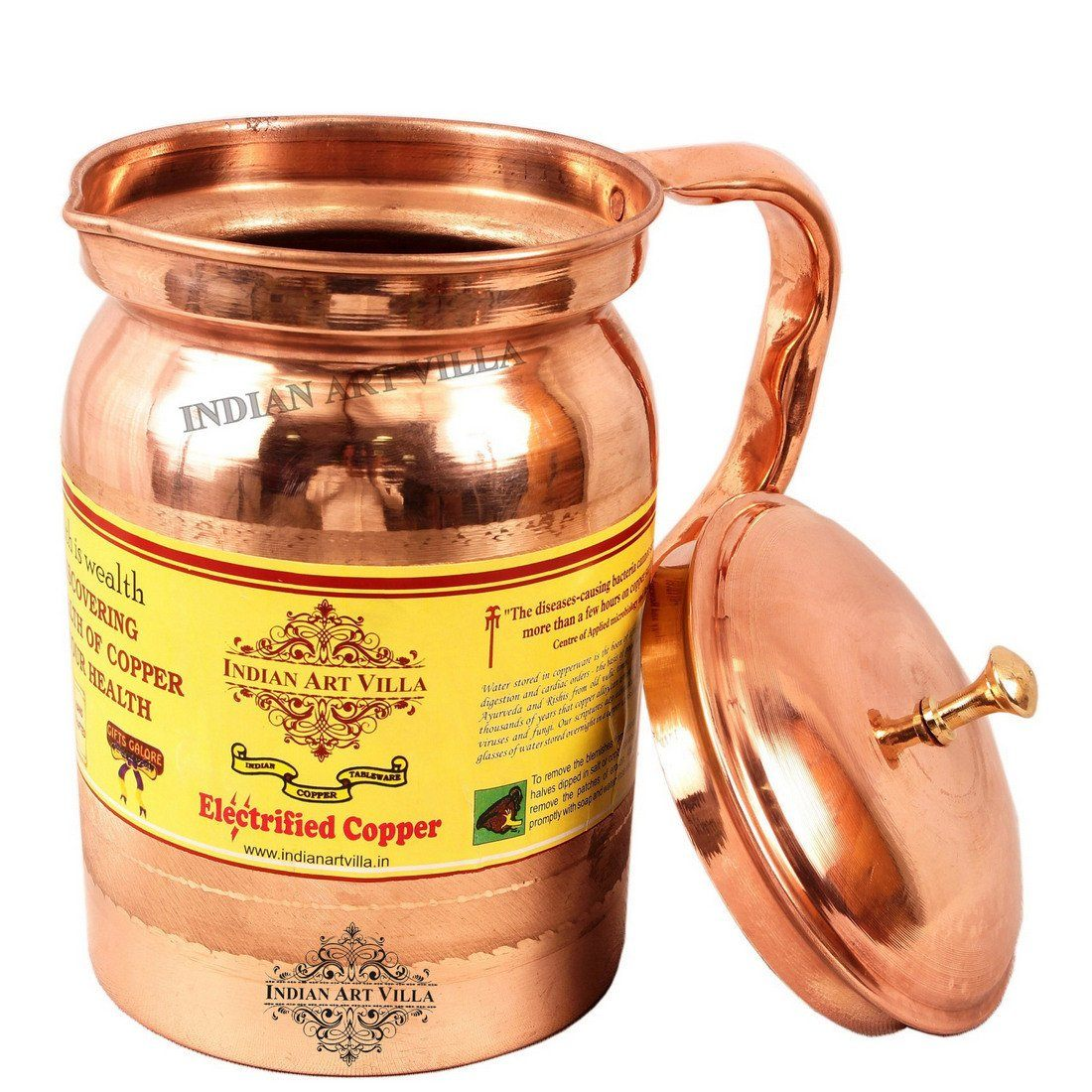 Pure Copper Jug with Lid - For Good Health Benefits Yoga Ayurveda