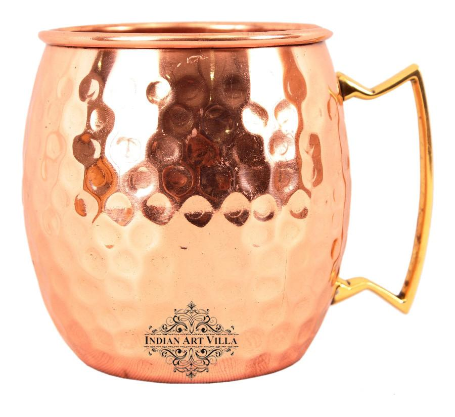Pure Copper Moscow Mule Beer Mug with Brass Handle Beer Mugs Indian Art Villa